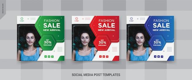 Moda sprzedaż mediów społecznościowych kwadratowych szablonów post projektu