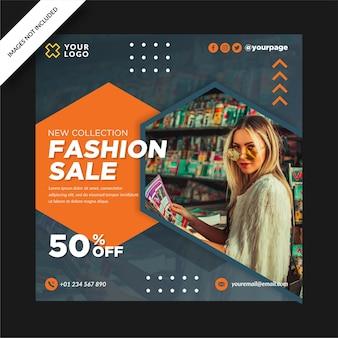 Moda sprzedaż nowa kolekcja banner projekt instagram post