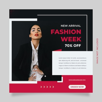 Moda sprzedaż postów w mediach społecznościowych i promocja szablonów banerów z czarnym różowym kolorem