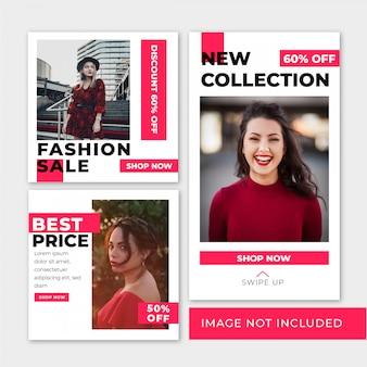 Moda sprzedaż szablon kwadrat banner i historia na instagramie