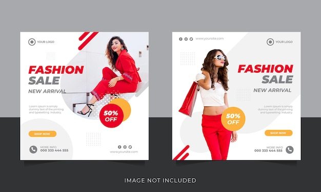 Moda sprzedaż szablon postu na instagramie
