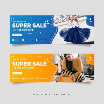 Moda sprzedaż szablon transparent okładka facebook