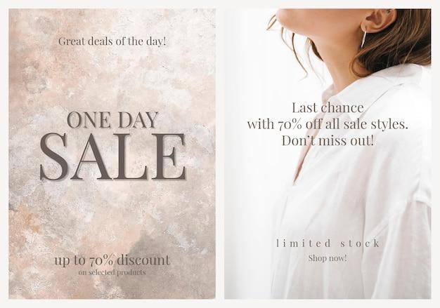 Moda sprzedaż szablon zakupy wektor promocyjny estetyczny plakat reklamowy podwójny zestaw