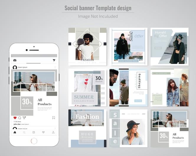 Moda szablon wiadomości social media