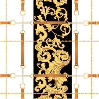 Moda tkanina wzór ze złotymi łańcuchami, pasami i paskami. luksusowe barokowe tło projektowania mody z elementami biżuterii na tekstylia, tapety, szalik. ilustracja wektorowa