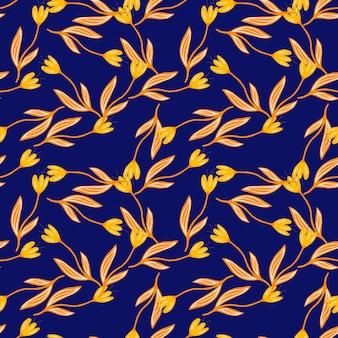Moda tulipan kwiat wzór na niebieskim tle. wildflower projekt botaniczny. tapeta dekoracyjna kwiatowy ornament. do projektowania tkanin, drukowania tekstyliów, pakowania, okładek.