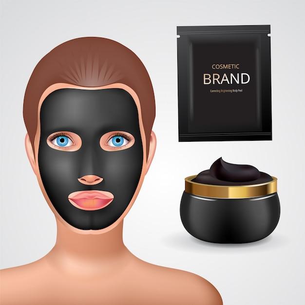 Moda uroda dziewczyna stosuje twarz czarny węgiel maska. opakowania na kosmetyki do twarzy.