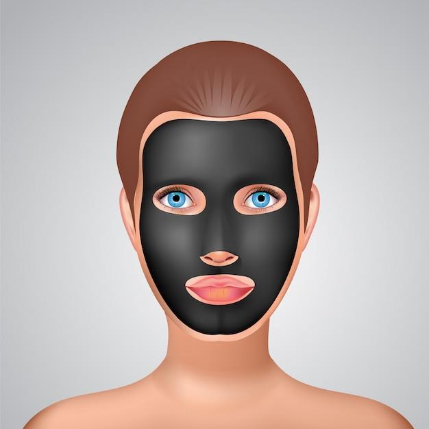 Moda uroda dziewczyna stosuje twarz czarny węgiel maska.