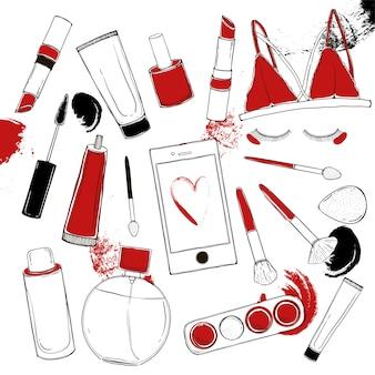 Moda wektor zestaw kosmetyków z obiektami artysty makijażu.