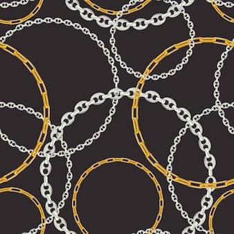 Moda wzór ze srebrnymi łańcuszkami. tkanina wzór tła z łańcuchem, metalowe akcesoria i biżuterię do tapet, wydruków. ilustracja wektorowa