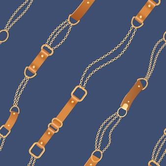 Moda wzór ze złotymi łańcuchami i paskami. łańcuch, warkocz i biżuteria elementy tła dla projektowania tkanin, tekstyliów, tapet. ilustracja wektorowa