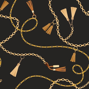 Moda wzór ze złotymi łańcuchami. tkanina wzór tła z łańcuchem, metalowe akcesoria i biżuterię do tapet, wydruków. ilustracja wektorowa