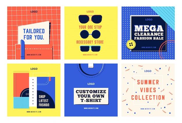 Moda zakupy social media szablony postów zestaw facebook instagram