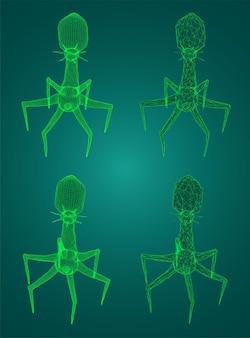 Model 3d bakteriofaga, sztucznego mikroorganizmu do leczenia śmiertelnych chorób. przyszłość medycyny