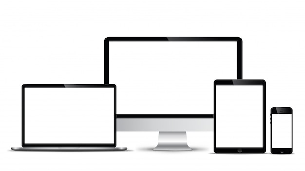 Model elektroniczny nowoczesna technologia, smartfony, tablety, komputery i notebooki.