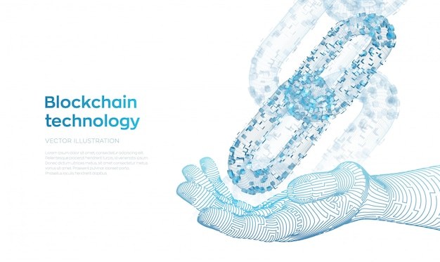 Model szkieletowy 3d z cyfrowymi blokami w robotycznej dłoni. koncepcja blockchain.