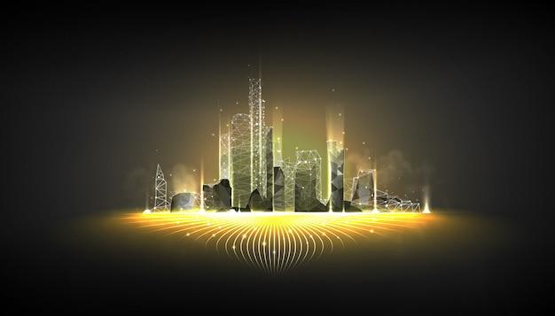 Model szkieletowy inteligentnego miasta na ciemnym tle