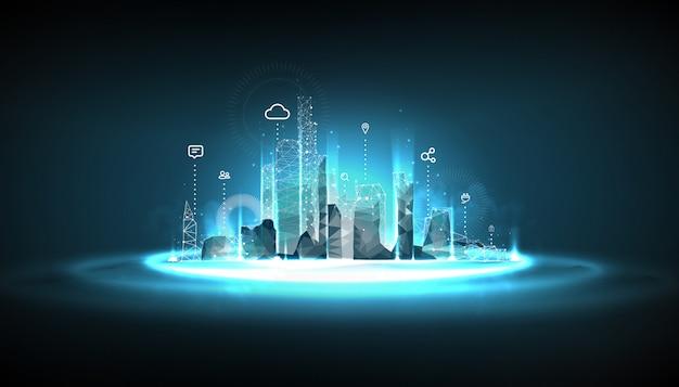 Model szkieletowy inteligentnego miasta na niebieskim tle
