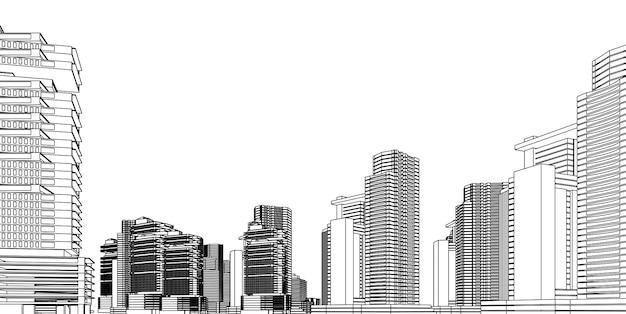 Model szkieletowy nowoczesnej architektury. koncepcja miejskiego modelu szkieletowego. wireframe buduje 3d ilustrację architektura