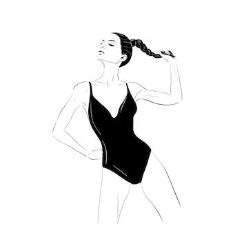 Model w suimsuit szkicu