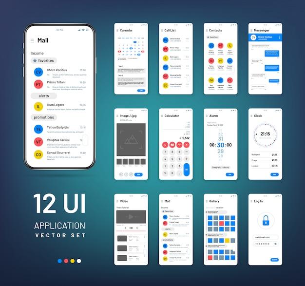 Modele ekranowe. zestaw szkieletowy aplikacji interfejsu mobilnego. szablony wektorów interfejsu użytkownika