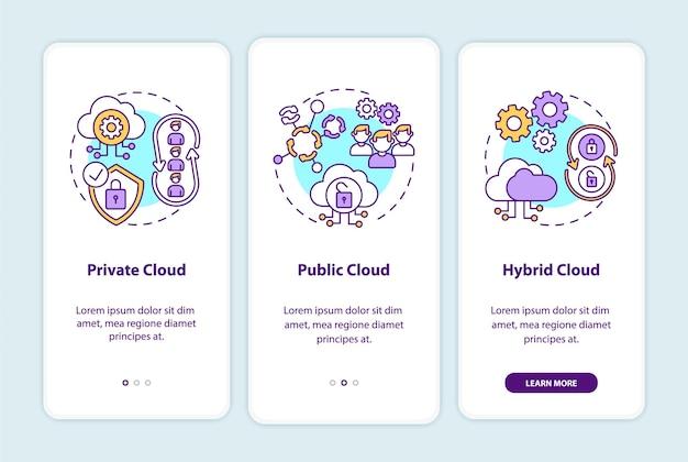 Modele wdrażania saas wprowadzające ekran strony aplikacji mobilnej z koncepcjami. chmura prywatna, publiczna, hybrydowa - przewodnik 3 kroki. szablon ui z kolorem rgb