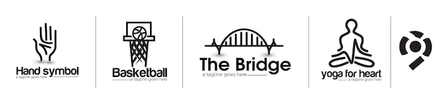 Modern bridge koszykówka joga element projektu logo