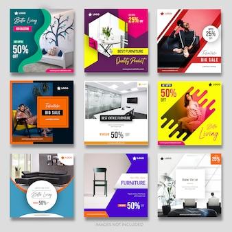 Modern_furniture kolekcja postów dla mediów społecznościowych dla marketingu