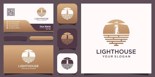 Modern lighthouse searchlight tower island z koncepcją swoosh projekt logo w stylu prostej linii.