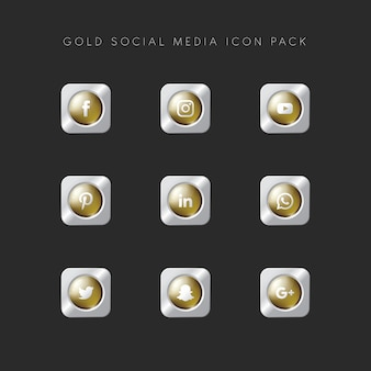 Modern popular social media icon pack gold version