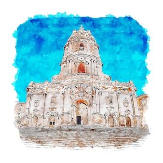 Modica ragusa włochy szkic akwarela ręcznie rysowane ilustracji