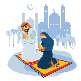 Modląc się koncepcja muzułmańskich