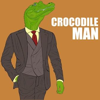 Modlący się krokodyl. zabawna ilustracja. krokodyl postać z kreskówki