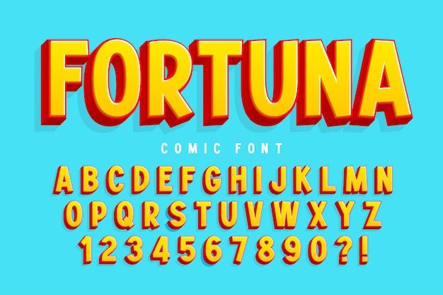Modna 3d komiczna czcionka, kolorowy alfabet, krój pisma