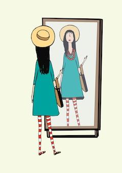 Modna dziewczyna wygląda w lustrze. kobieta w stylowym, retro akcesoria kapelusz, rajstopy w paski, torebka. ręcznie rysowane ilustracji wektorowych.