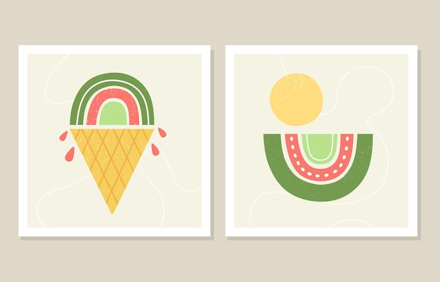 Modna grafika ścienna przedstawiająca letnie tęcze w formie lodów w minimalistycznym stylu