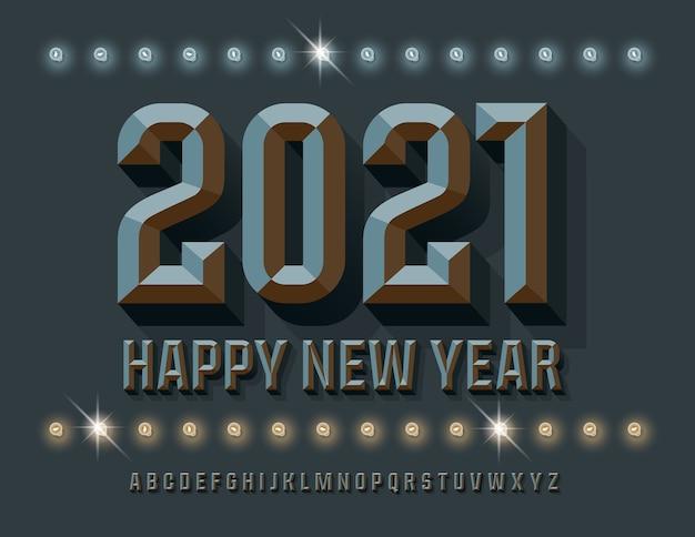 Modna kartka z życzeniami szczęśliwego nowego roku 2021! szara czcionka izometryczna. stylowy zestaw fazowanych liter alfabetu i cyfr