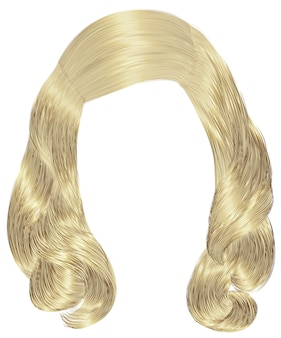 Modna kobieta długie włosy blond kolory. moda uroda. realistyczny 3d.