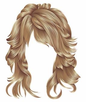 Modna kobieta długie włosy blond kolory.
