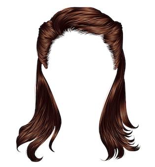 Modna kobieta długie włosy brunetka brązowy brunetka kolory. moda uroda. realistyczny 3d.retro
