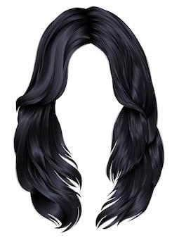 Modna kobieta długie włosy brunetka czarne kolory.