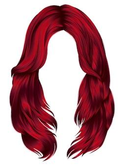 Modna kobieta długie włosy czerwone kolory. realistyczna grafika 3d