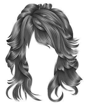 Modna kobieta długie włosy szare kolory. realistyczne 3d