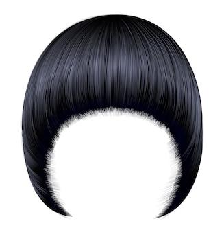 Modna kobieta fryzuje pageboya z grzywką. czarne kolory brunetki. średnia długość . styl urody. realistyczne.