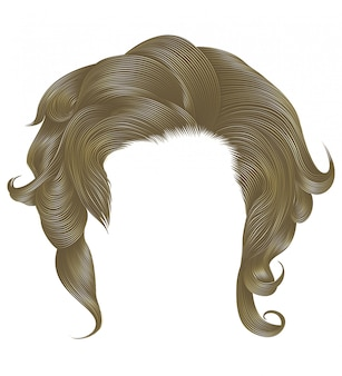 Modna kobieta kręcone włosy blond jasny kolor. średnia długość . styl urody. realistyczny 3d.