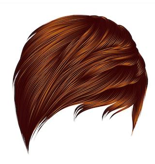 Modna kobieta krótkie włosy czerwone imbirowe kolory rude. frędzle. styl uroda moda. realistyczne.