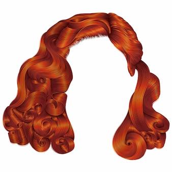 Modna kobieta krótkie włosy czerwone kolory imbiru. frędzle. moda uroda w stylu retro. realistyczny 3d.