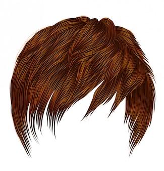 Modna kobieta mężczyzna krótkie włosy czerwony imbir rude kolory. frędzle. styl uroda moda. realistyczne.