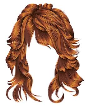 Modna kobieta peruka długie włosy czerwone