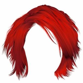 Modna kobieta rozczochrane włosy w czerwonych kolorach. realistyczny 3d